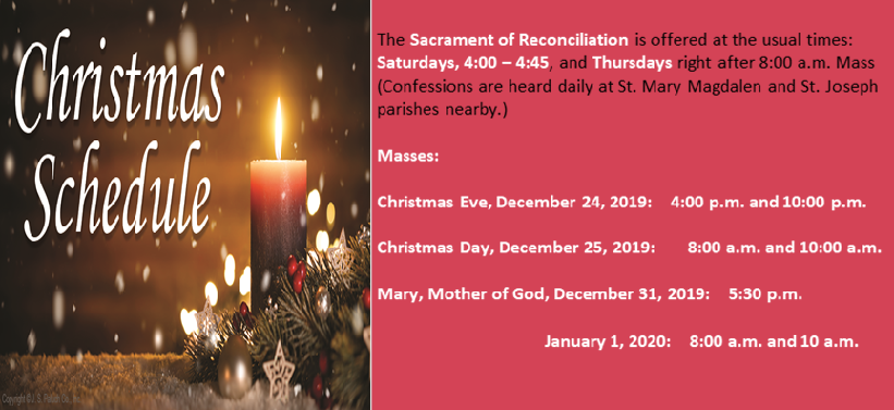 2019 Immacolata Christmas Mass Schedule